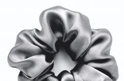 Jedwabna gumka typu scrunchie frotka basic ciemnoszara