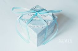 Pudełko exploding box ślub błękit uhk