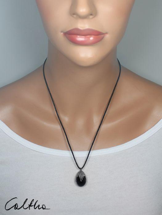 Czarny w siateczce - wisior - Biżuteria czarne krople