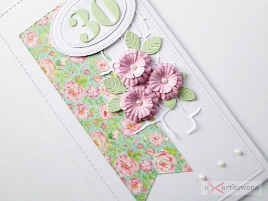 Kartka URODZINOWA różowo-seledynowa - Seledynowo-różowa kartka urodzinowa w kopercie
