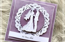 Kartka na ślub pastelowa fioletowa 02