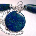Lapis lazuli z malachitem i srebro, komplet