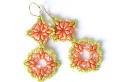 Kolczyki SuperDuo Pomarańczowo-Zielone