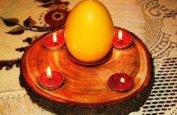 Świecznik drewniany ręcznie robiony na nóżkach-wspaniała dekoracja mieszkania!