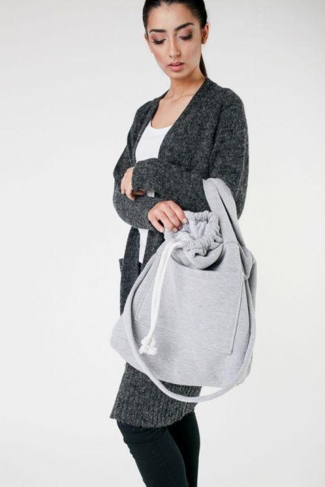 duża torebka na zakupy szara - torebka na ramię