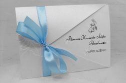 Zaproszenie na komunię delikatne eleganckie białe ze wstążką ZKS 009