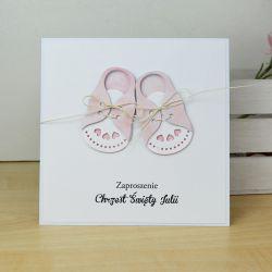ZAPROSZENIA na chrzest - różowe buciki