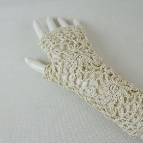 Rękawiczki, mitenki handmade beżowe