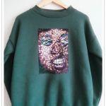 Ręcznie malowana bluza abstrakcja Face - null