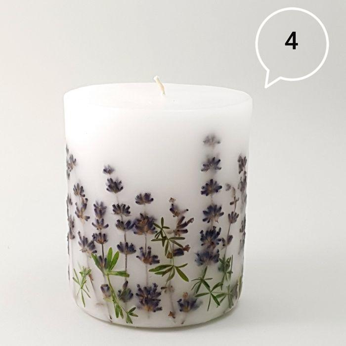 Świeca z naturalnymi kwiatami-lawenda