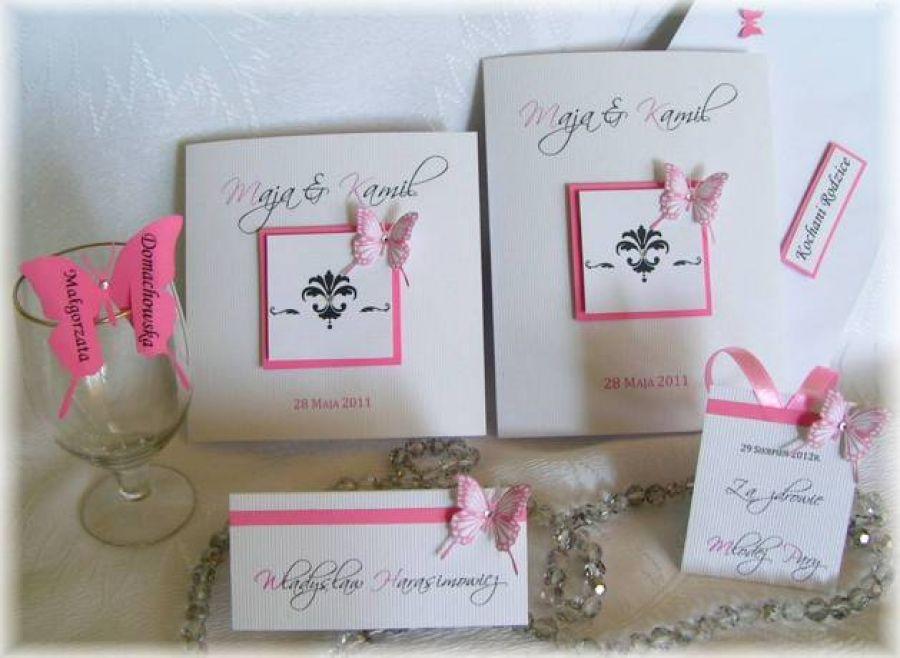 Zaproszenie Zawiadomienie Na ślub Z Motylami Biżuteria Hand Made