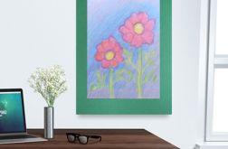 Rysunek z kwiatami na ciemnozielonym tle nr 6
