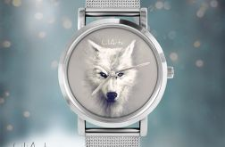 Zegarek, bransoletka - Biały wilk