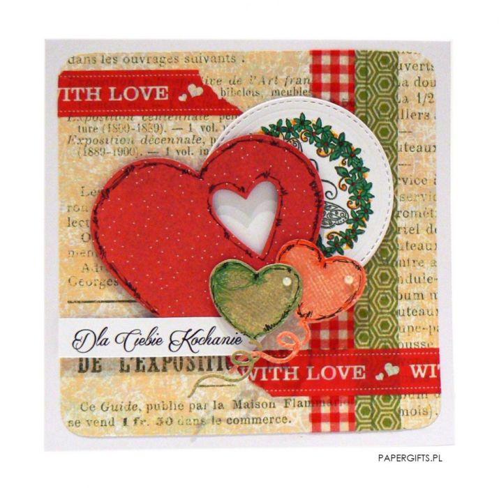 Kartka dla kochanej osoby - czerwone serce