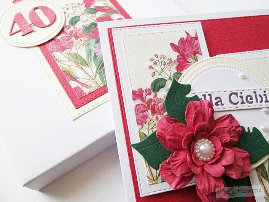 Kartka URODZINOWA - z czerwonym kwiatem - Kartka na urodziny z dużym kwiatem