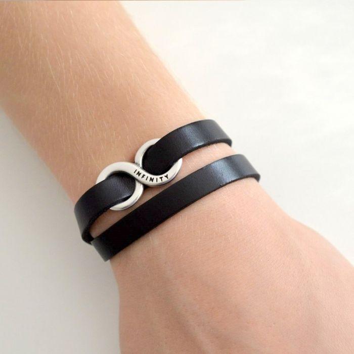 Infinity unisex podwójna bransoletka brąz -
