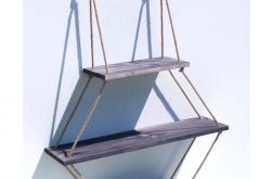 Półka na linach z drewna