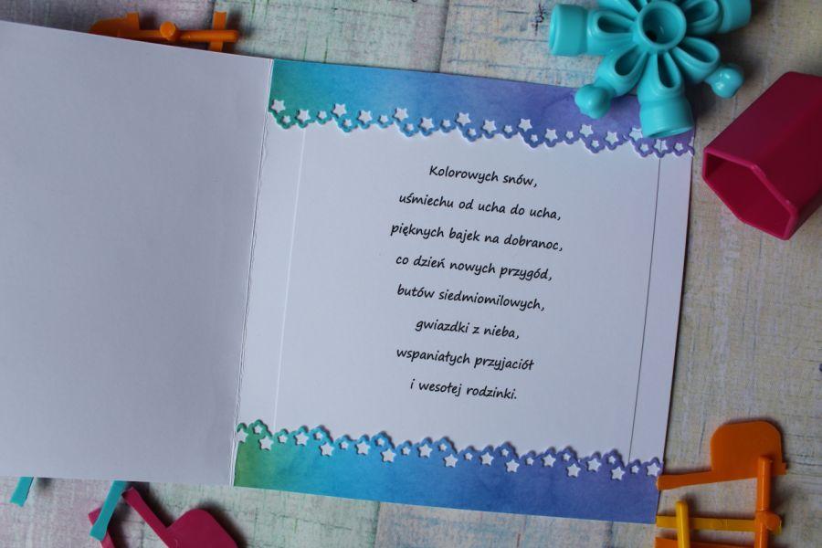 Miś na niebieskim tle - Środek kartki