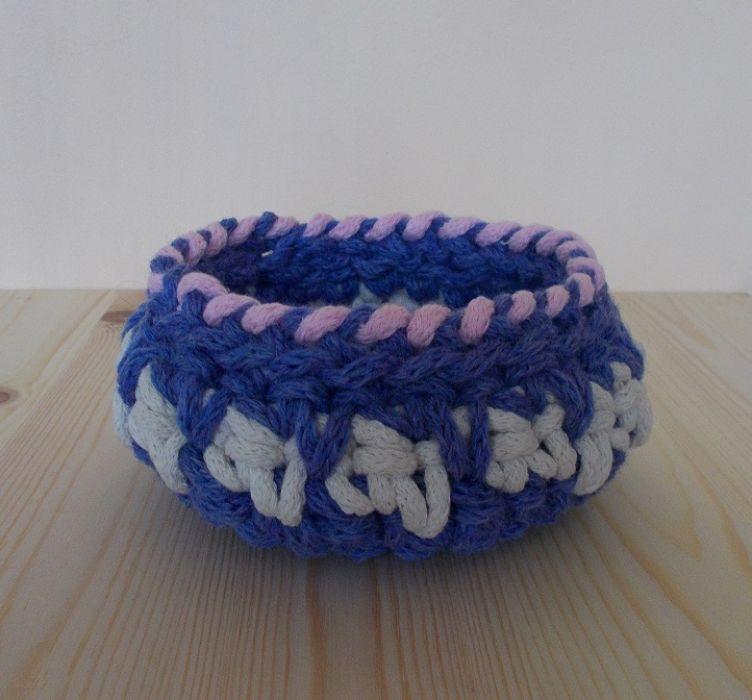Koszyk Trzy kolory - niebieski - Koszyk ze sznurka