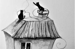 Rysunek piórkiem KOCIE FIGLE