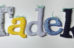 literki TADEK imię napis