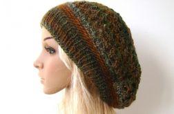 ażurowy beret - czapka w jesiennych barwach