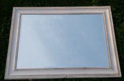 lustro w białej rustykalnej ramie