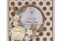 Kartka ślubna wianek z różami - złote kropki