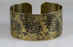 Mosiężna bransoleta - kwiaty 171028-04