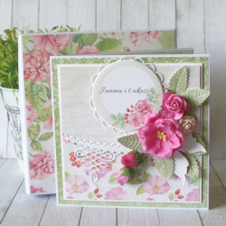 Różana kartka ślubna w pudełku v.2