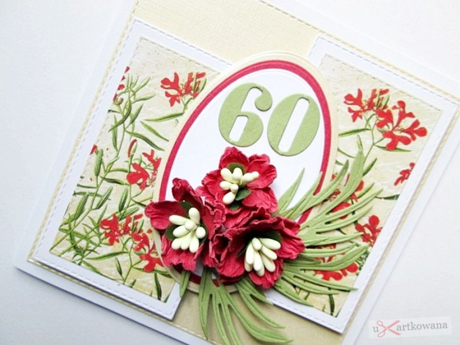 Kartka URODZINOWA kremowo-czerwona - KArtka na urodziny z czerwonymi kwiatami