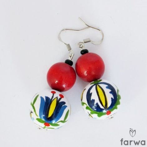 Kolczyki Kaszubskie czerwono-białe