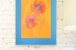 Rysunek kwiaty na niebieskim tle nr 12 szkic