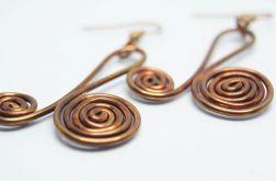 Podwójna spirala - miedziane kolczyki