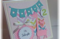 Urodzinowa kartka żyrafka roczek 2, 3 latka
