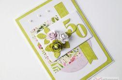 Kartka URODZINOWA oliwkowo-różowa