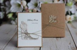 Rustykalna kartka ślubna z pudełkiem 20