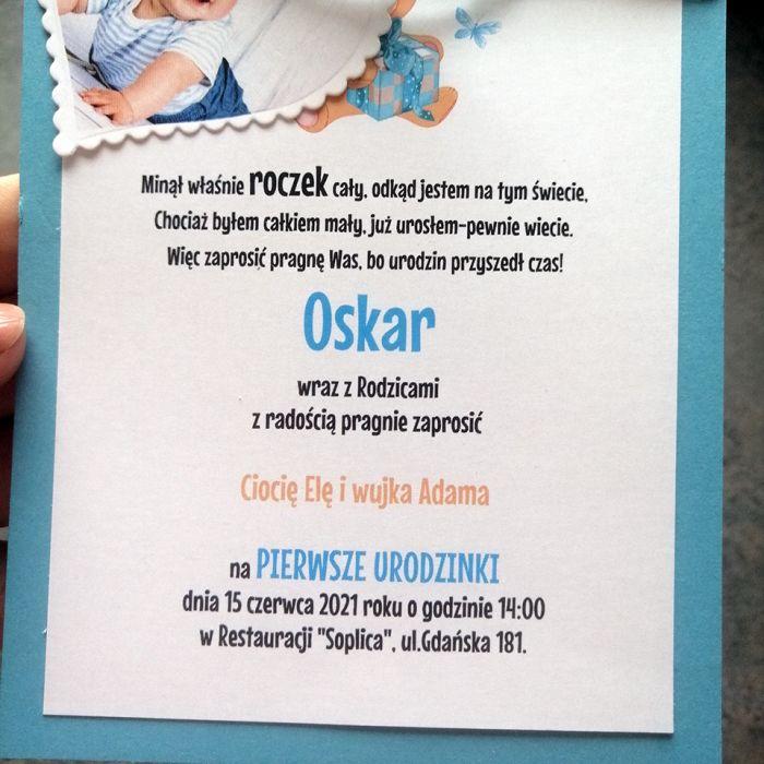 Zaproszenie ze zdjęciem w serduszku niebieskie ZUD 011 -