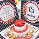 Box na urodziny z tortem złoto-czerwono-czarny - Exploding box z tortem na prezent na osiemnastkę