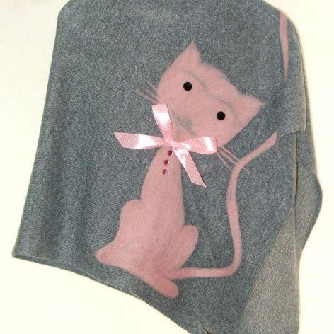 Ponczo dla dziewczynek z kotkiem 6