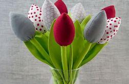 Tulipany szyte, bawełniane bordowe szare