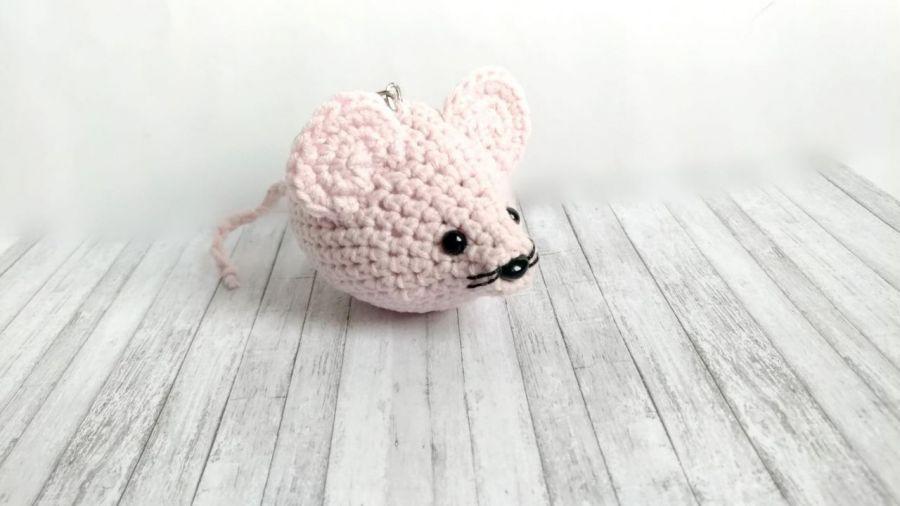 Różowa myszka - brelok