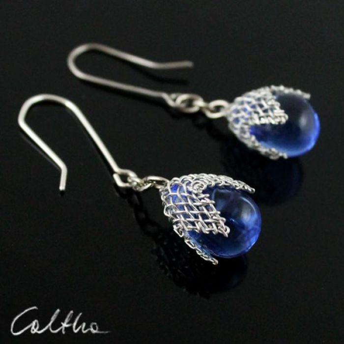 Błękitne w siateczce -  kolczyki - Niebieskie kolczyki