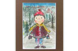 Zimowy chłopczyk 3, obrazek dla dzieci