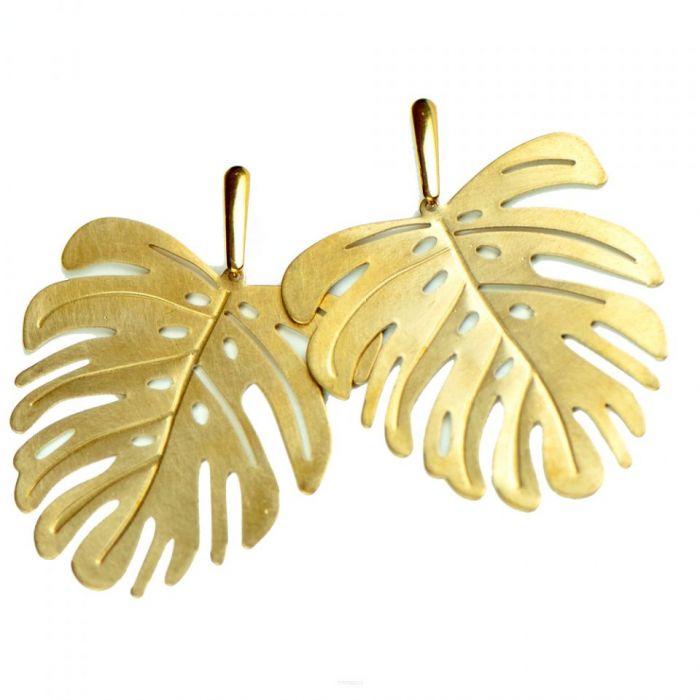 Kolczyki liście w kolorze złota Iaso c677-k