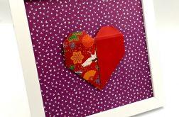 Obrazek origami wiszący lub stojący Serce
