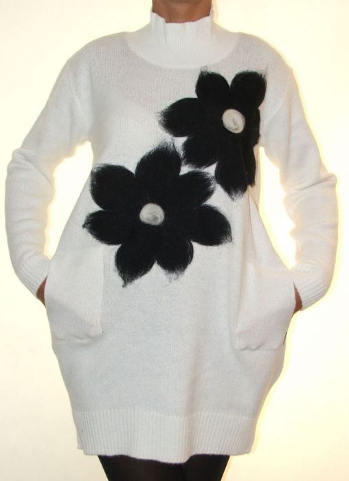 Sukienka filcowana kwiaty 02