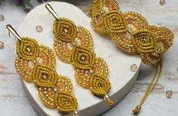 Komplet biżuterii miodowo-złoty