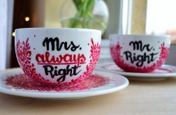 Filiżanki dla pary - Mr. & Mrs. Right