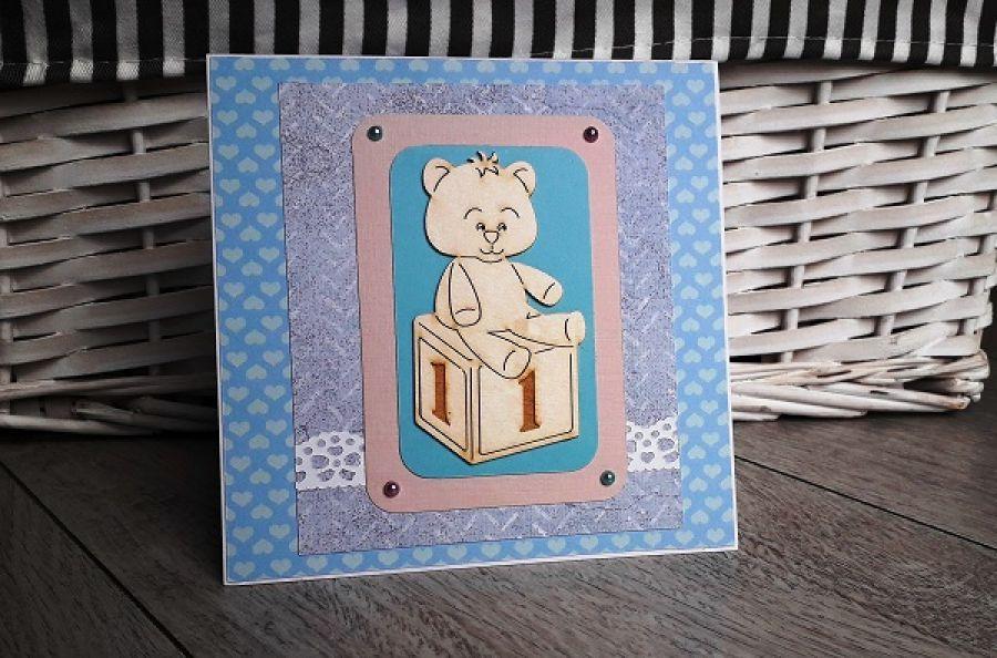 Kartka na Roczek urodziny misiu niebieska
